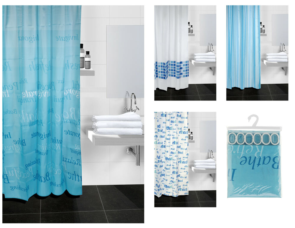 Shower Curtain With Hooks Various Design / Colour PEVA 100% Polyester ...