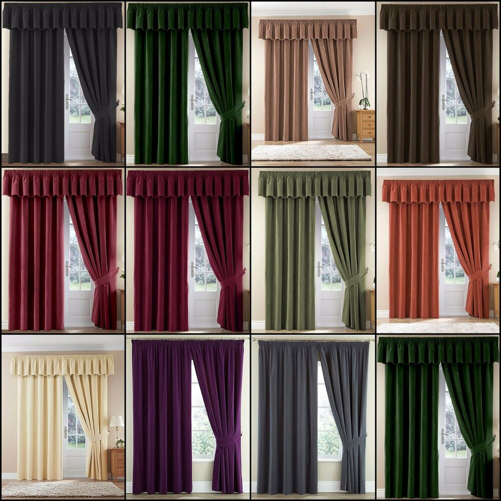 Slot top voile pair olive cheap green curtain voile uk delivery - Pair Thermal Velour Velvet Plain Dyed Pencil Pleat Curtains In Multiple Colours