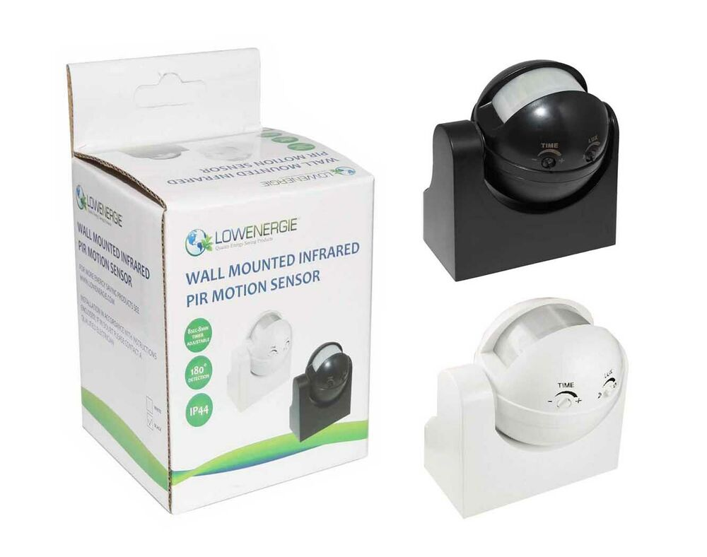 180 white or black occupancy sensor pir motion light switch wall mounted 1200w ebay. Black Bedroom Furniture Sets. Home Design Ideas