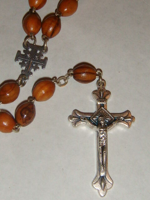 Rosary Beads Necklace Crucifix Cross Olive Wood Souvenir