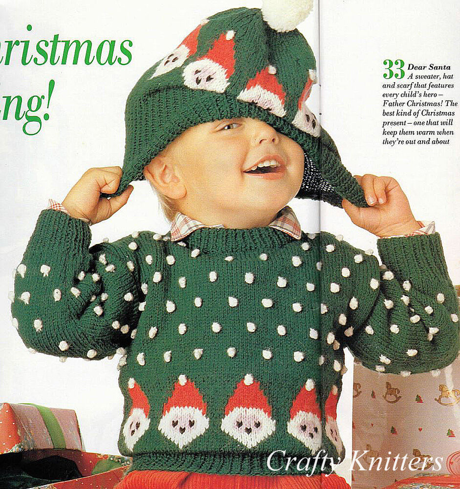 00efd1ee8e5 Details about Knitting Pattern Children s Christmas Jumper   Hat
