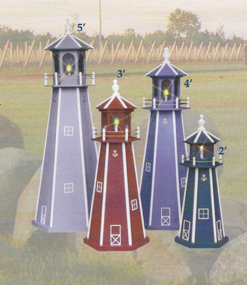 Amish crafted lighthouse light house lawn yard ornament for Wooden garden decorations
