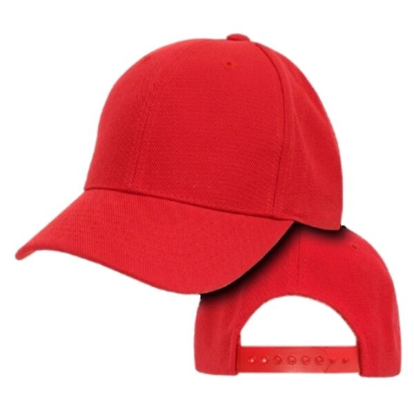 Red Youth Plain Blank Solid Adjustable Tennis Baseball