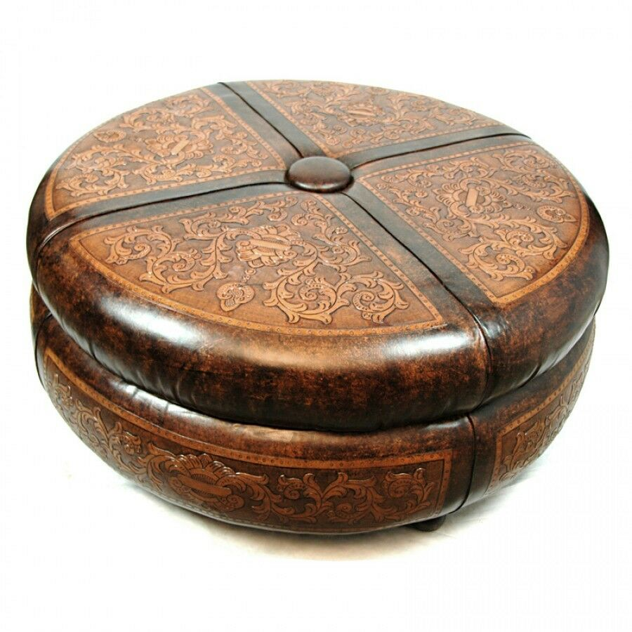 45 round ottoman cocktail table amazing carvings hand - What is an ottoman ...