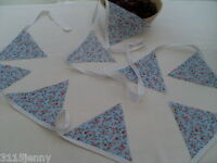 Fabric Bunting Floral style Choice of Colour GREAT FOR WEDDINGS 40ft/12m long