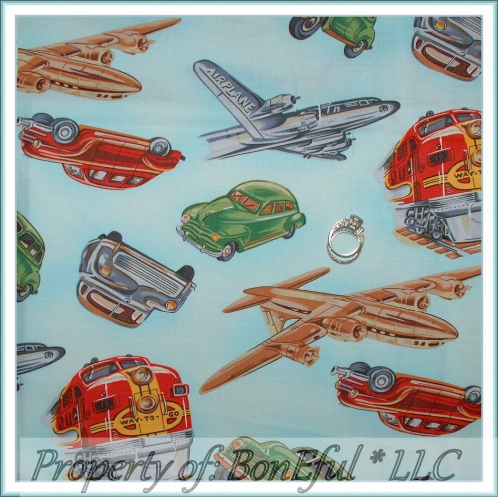 Boneful fabric fq cotton quilt blue vtg baby boy travel for Airplane print cotton fabric