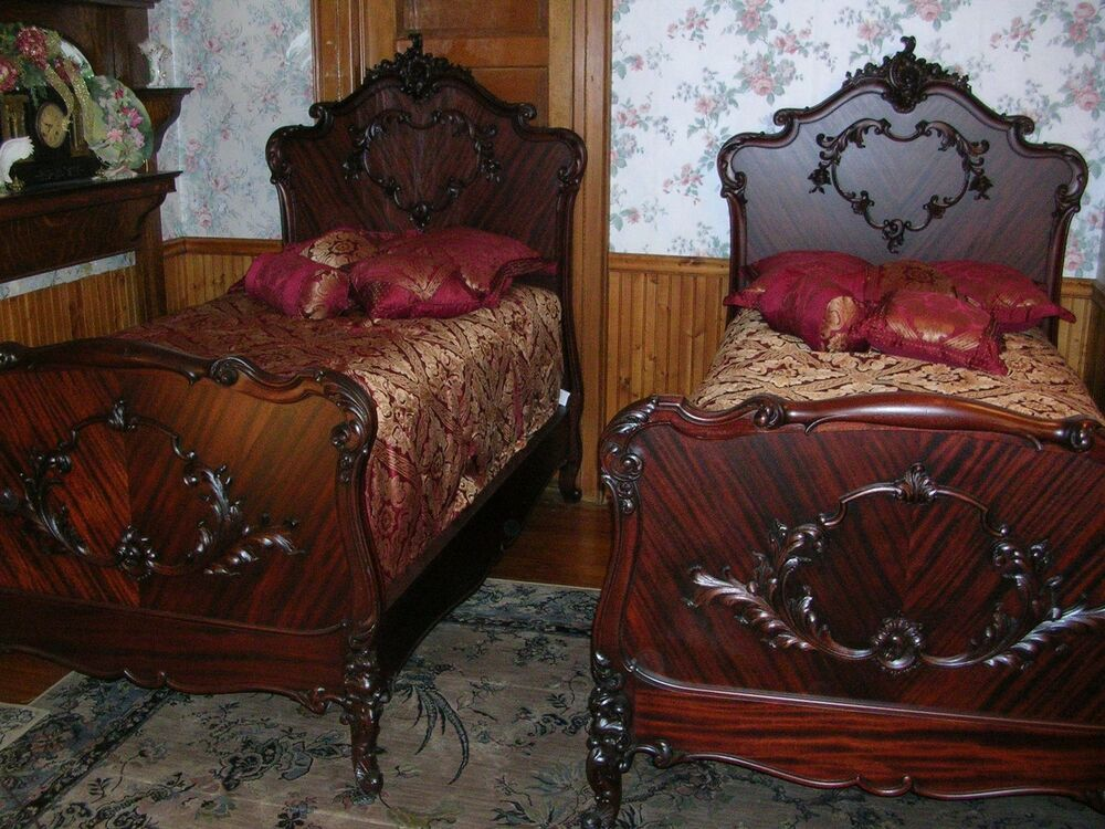 Antique R J Horner French Mahogany Twin Bed Set With High