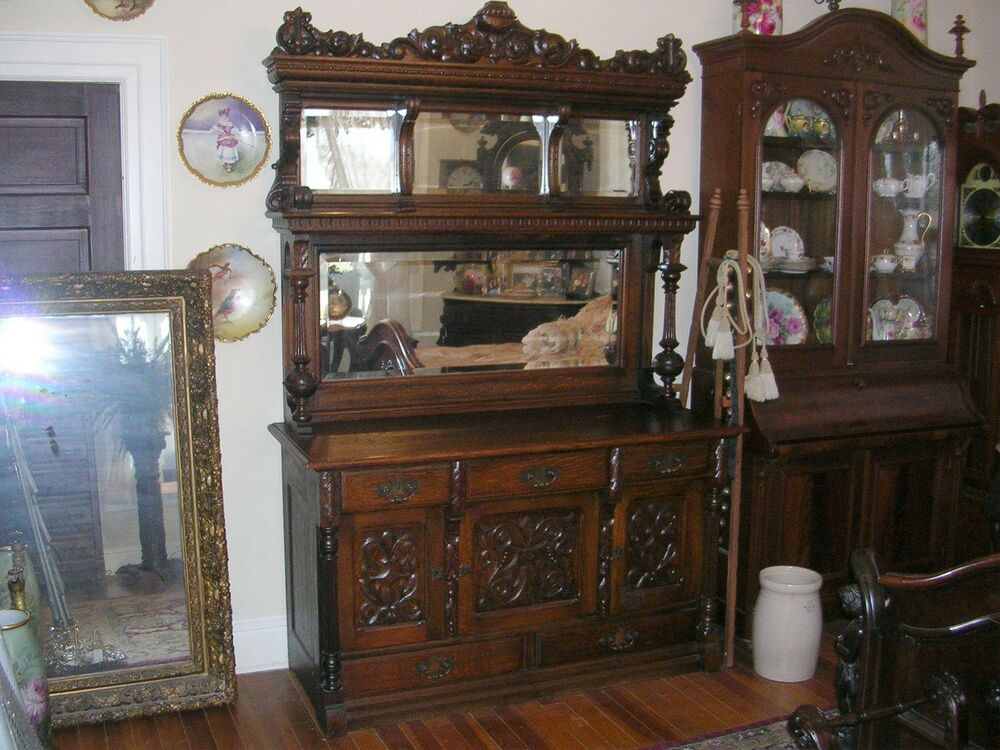 Huge American Antique Quartersawn Oak Sideboard Buffet All