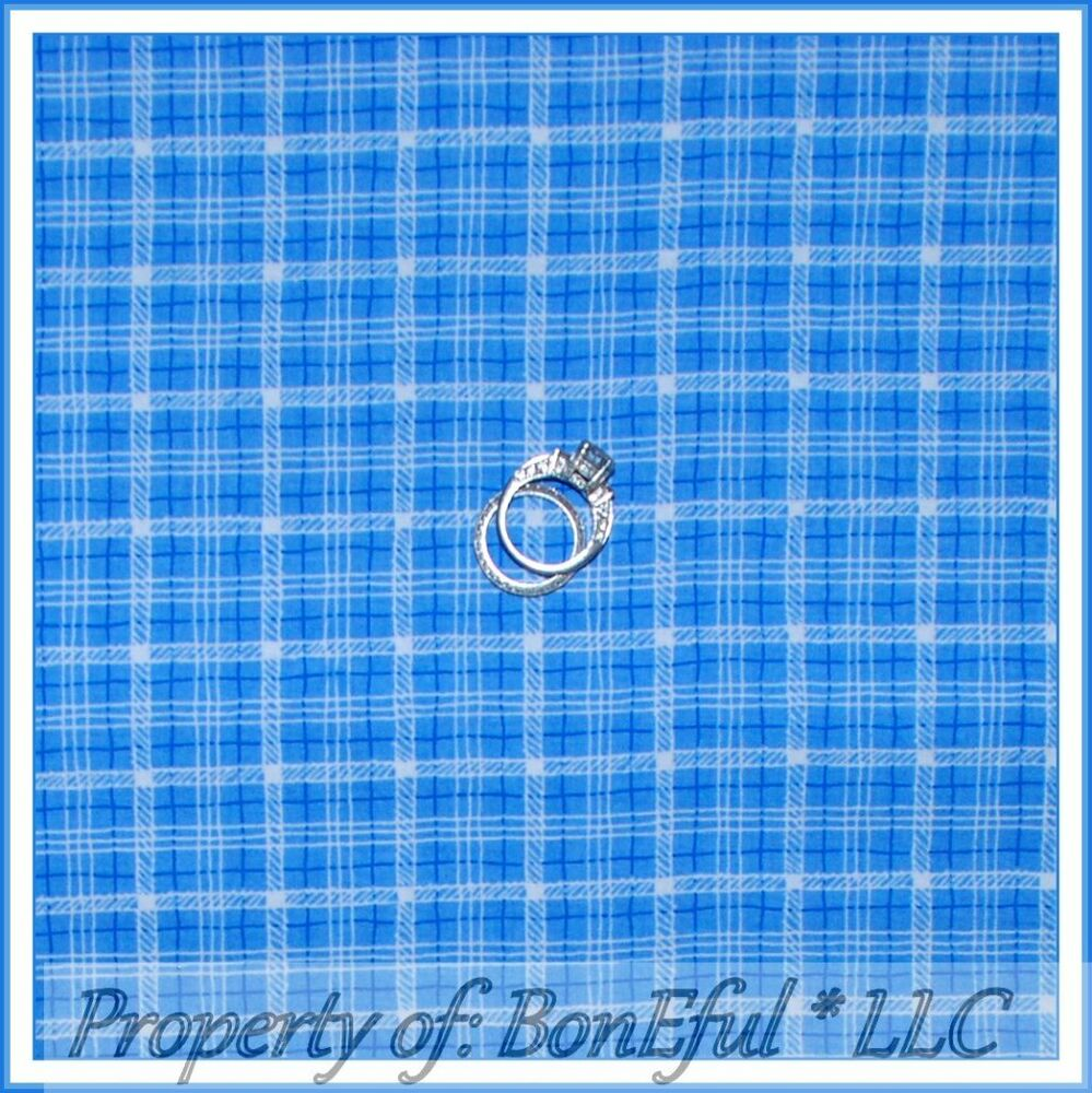 Plaid Baby Quilt: BonEful Fabric FQ Cotton Quilt Baby Boy Nursery BLUE White