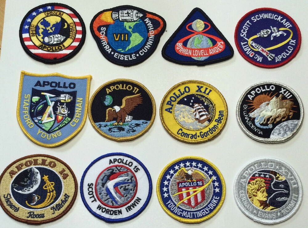 Apollo Mission Patch Emblems Apollo 1,7,8,9,10,11,12,13,14 ...