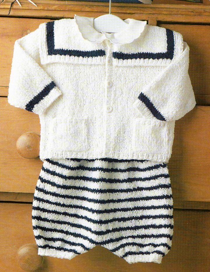 Baby Boy Christening Outfit Knitting Pattern : Knitting Pattern Baby Sailor 3 Piece Outfit Christening ...