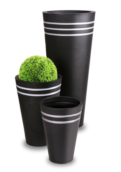 Tall Round Zinc Planter Black Metal Plant Flower Pot