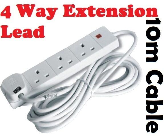 Uk Extension Lead : Way gang electric extension lead m meter cable a uk