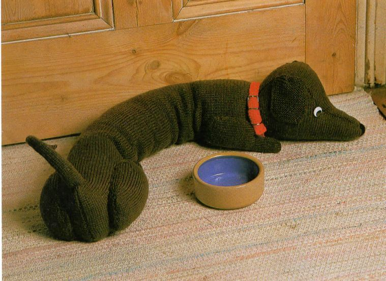 Knitting Pattern Dachshund Sausage Dog Door Draught