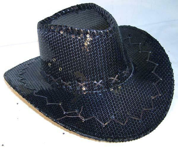 b0f1eb94506 Details about SEQUIN BLACK COWBOY HAT party supply western hats mens womens  COWGIRL new cap