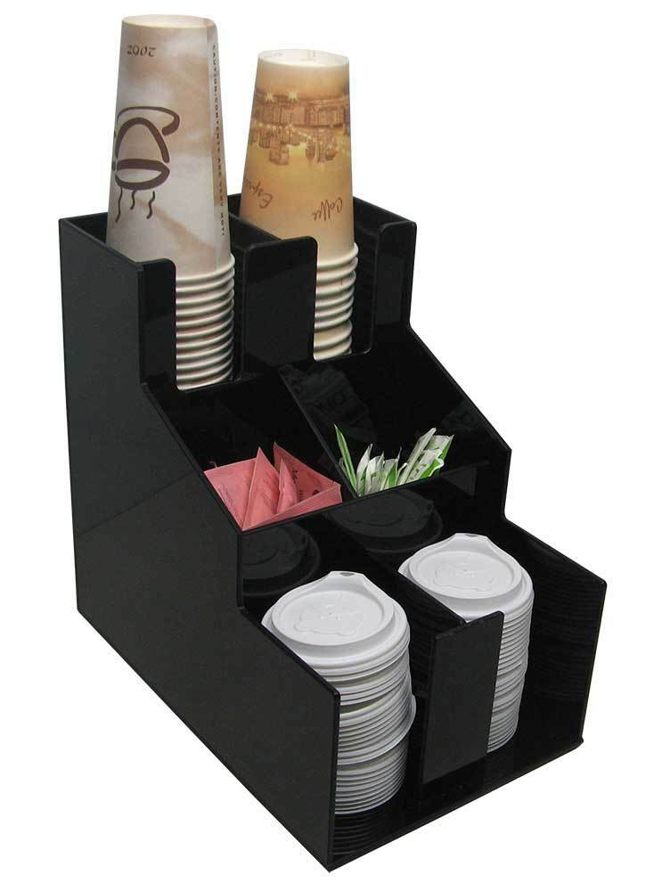Coffee Cup Dispenser Condiment Caddy And Lid Holder