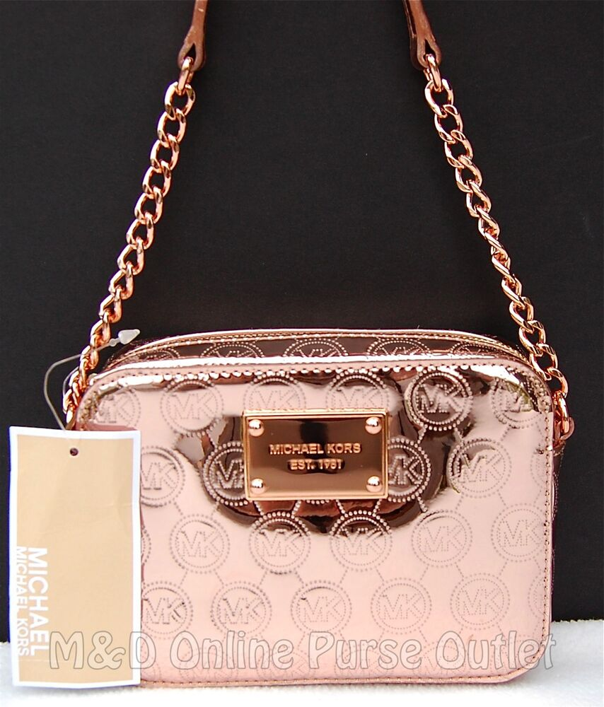 f70dcb2fecba Details about NWT Michael Kors Rose Gold Monogram Mirror Metallic Jet Set  Crossbody Purse Bag