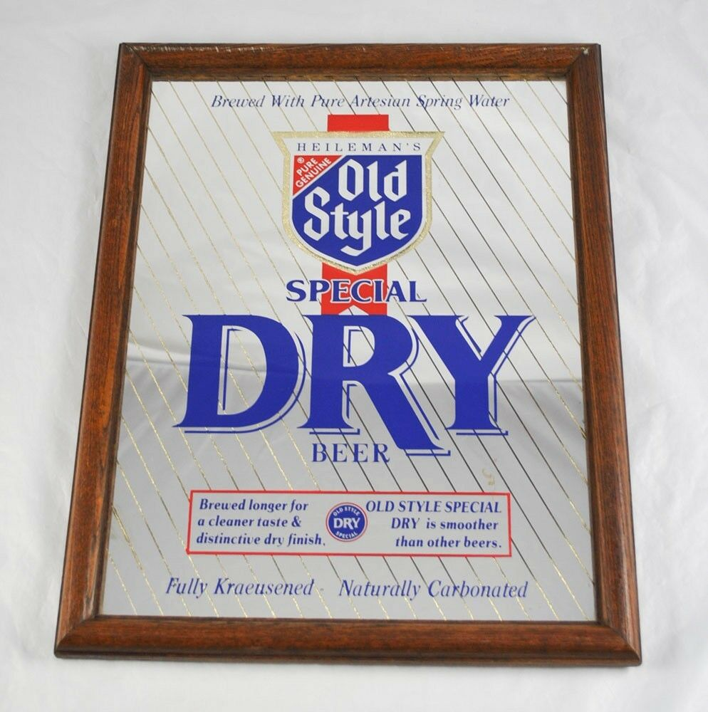 Heileman 39 s old style special dry beer mirror advertising for Old style mirror