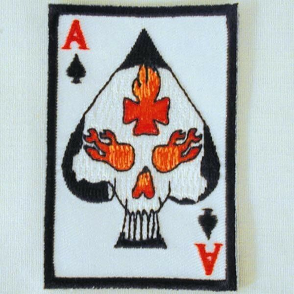 ace of spade playing card biker patch embroidered patch iron on ebay. Black Bedroom Furniture Sets. Home Design Ideas