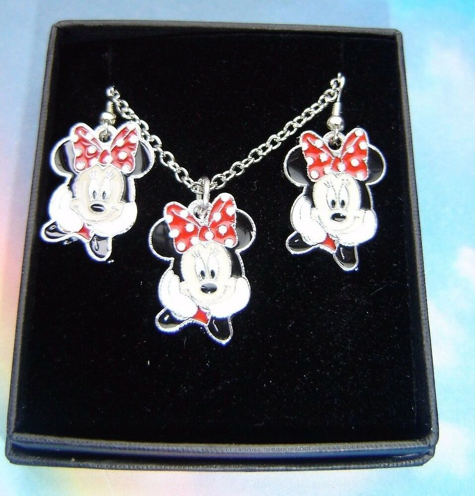 Minnie mouse necklace stud earrings gift box set ebay for Minnie mouse jewelry box