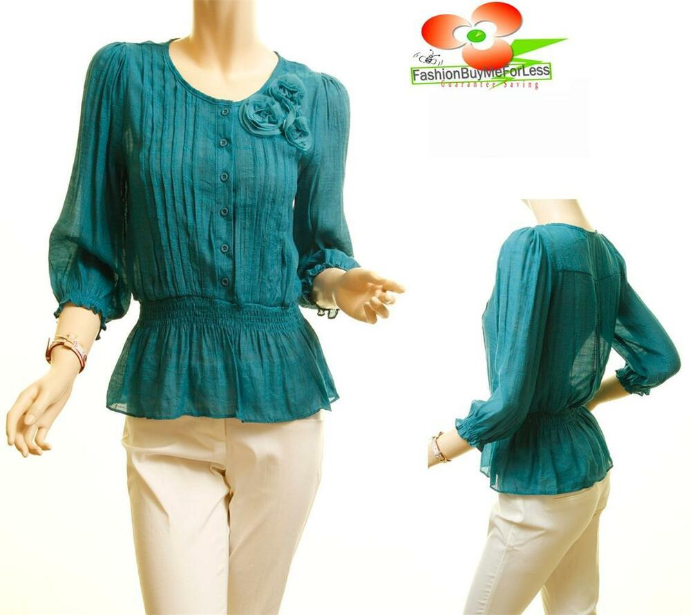 Women 3 4 sleeve teal chiffon twisted florettes waist cinched blouse