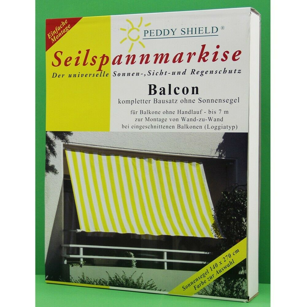 seilspann markise f r balkone bis 7m sonnensegel sonnenschutz peddy shield ebay. Black Bedroom Furniture Sets. Home Design Ideas