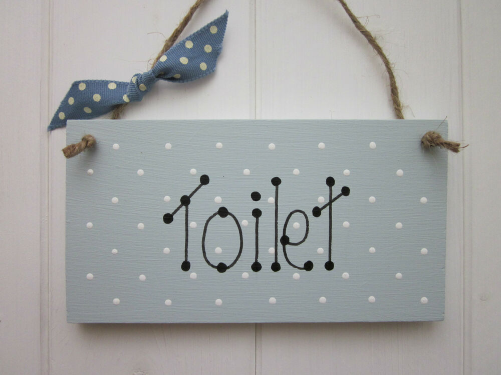 shabby toilet sign plaque painted in duck egg paint chic vintage style ebay. Black Bedroom Furniture Sets. Home Design Ideas