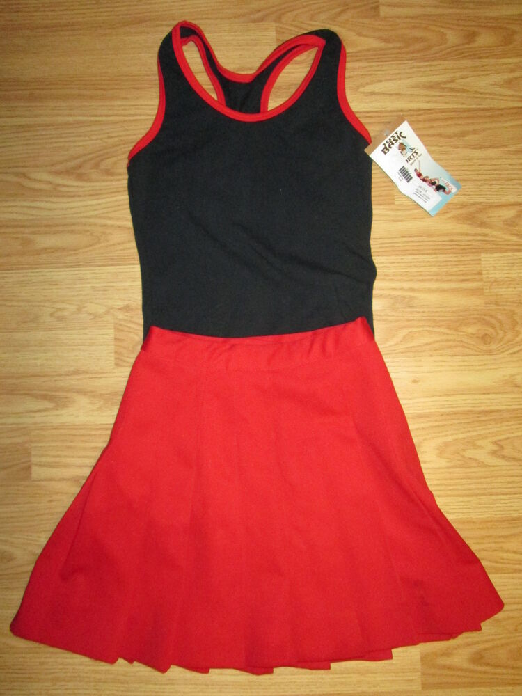 Cheerleader Uniform Cheerleading Tank Top and Skirt CHEER Outfit Black Red 34/24 | eBay
