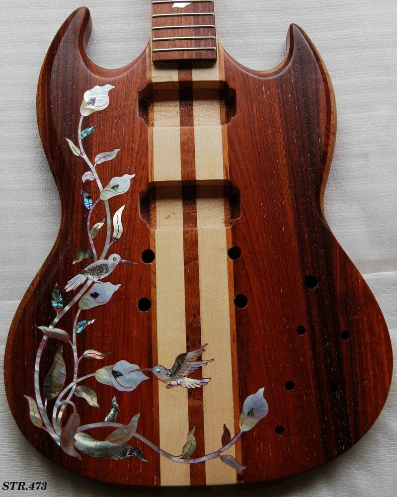 birds inlay solid rosewood thru neck body electric guitar str473 ebay. Black Bedroom Furniture Sets. Home Design Ideas
