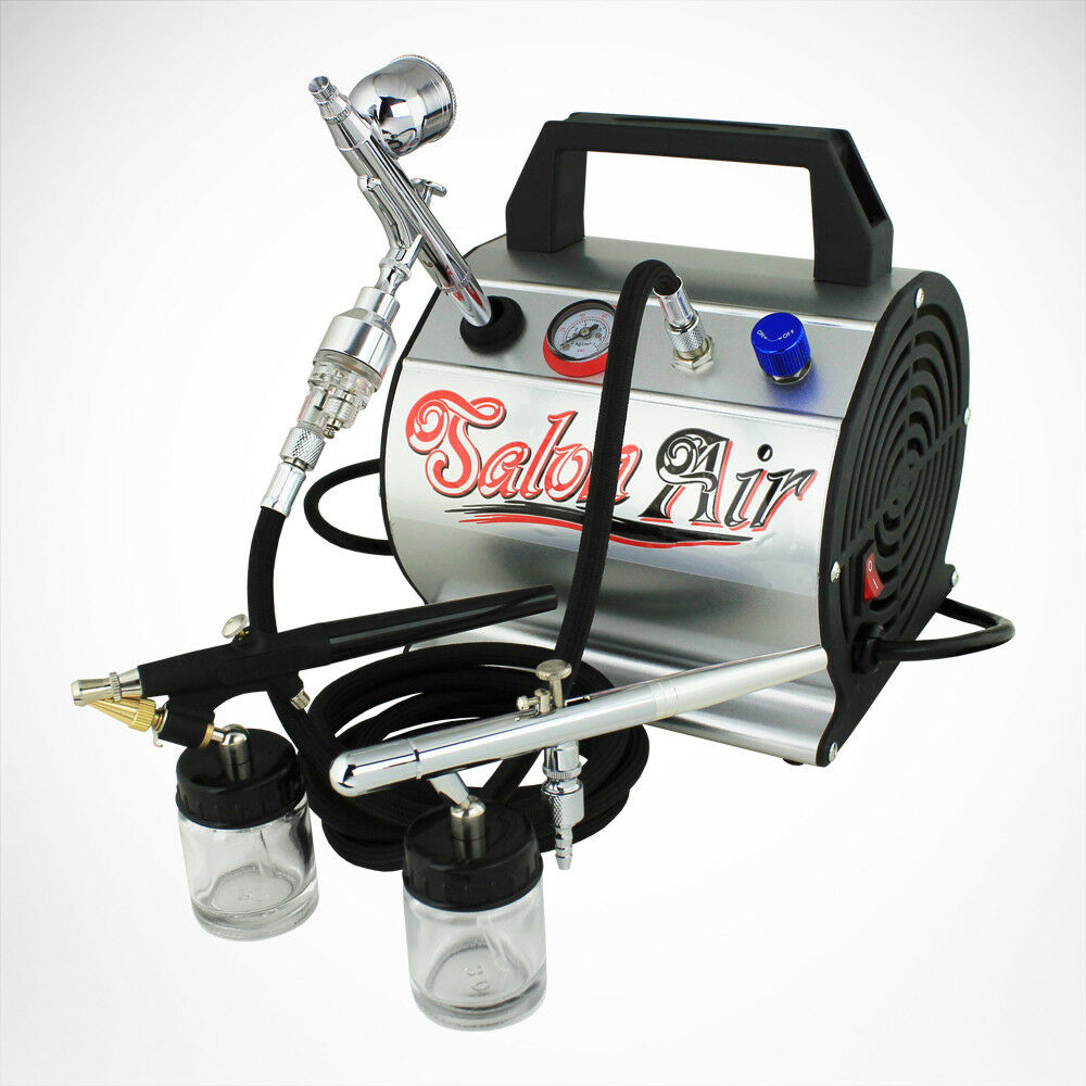 New 3 airbrush compressor kit dual action spray air for Airbrush tattoo kit