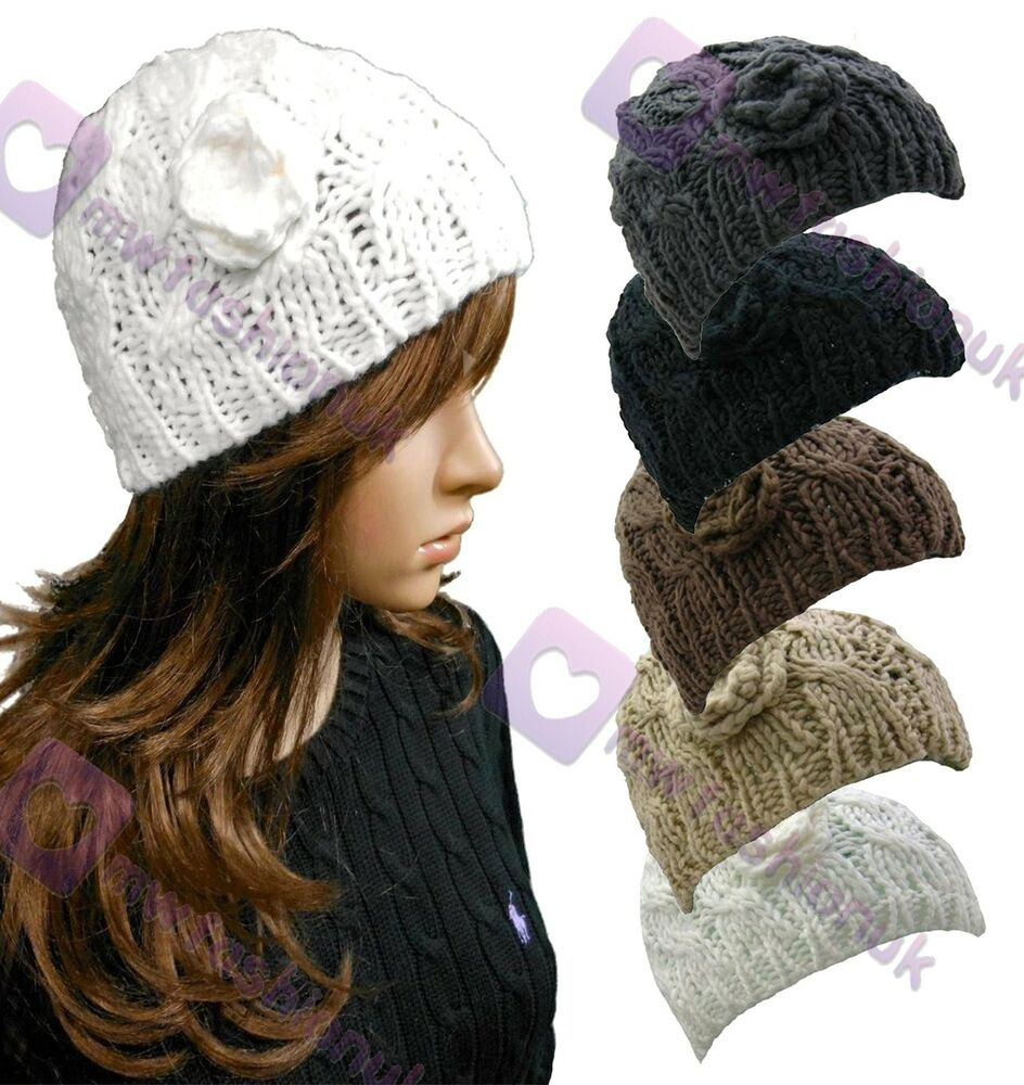 New Chunky Cable Knit Hat Beanie Hat Colour Choice Womens ...