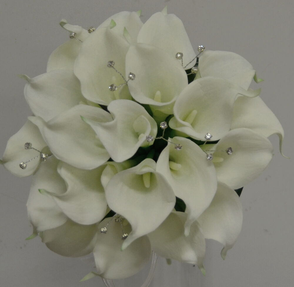 Real Vs Fake Flowers Wedding: SILK WEDDING BOUQUET LATEX CALLA LILY DIAMANTE POSY WHITE