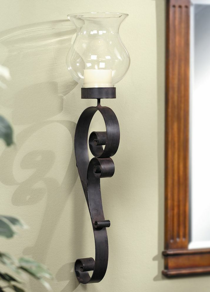 Iron Candle Holder Wall Sconce : Swirl Wall Hurricane Candleholder Wall Sconce Iron Candle Holder Tall 28 5