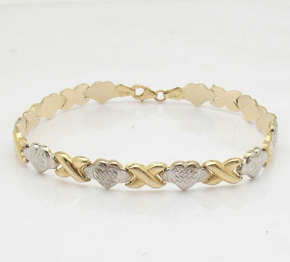 Bracelet With Hearts: Diamond Cut Hearts & Kisses Bracelet Genuine REAL 10K