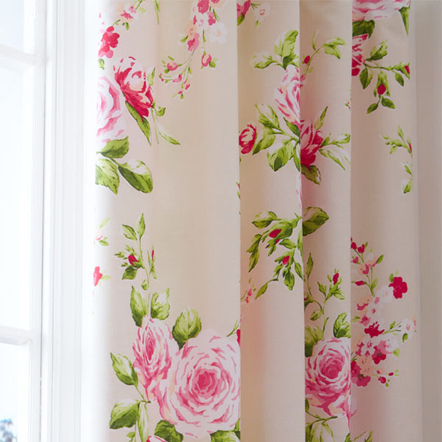 Red Pink Rose Floral Pencil Pleat Lined Cotton Curtains 66