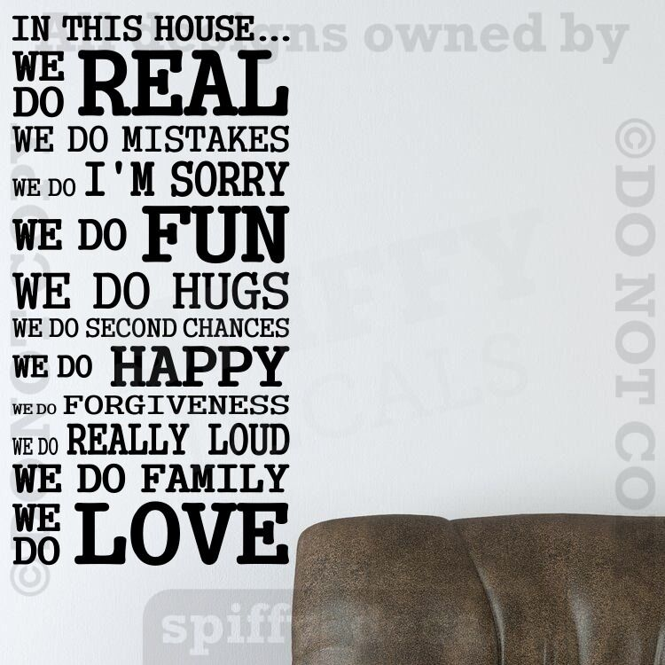 IN THIS HOUSE FAMILY WE DO LOVE FUN REAL Quote Vinyl Wall ...