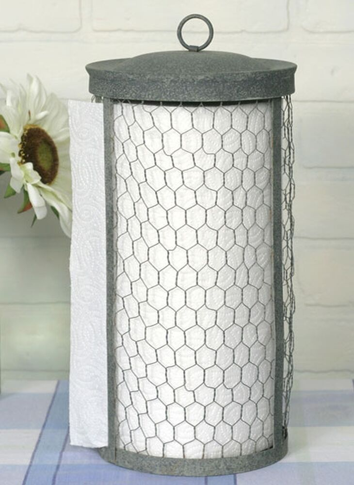 Primitive Classic Country Chicken Wire Paper Towel Holder