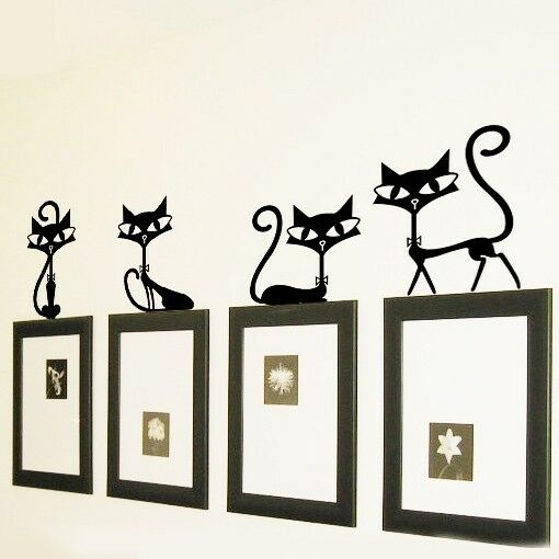 Wall art home party : Wall stickers removable cute lovely cat party home mural