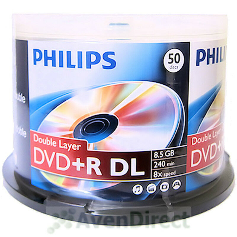 100 new philips 8x logo 8 5gb dvd r dl double dual layer. Black Bedroom Furniture Sets. Home Design Ideas