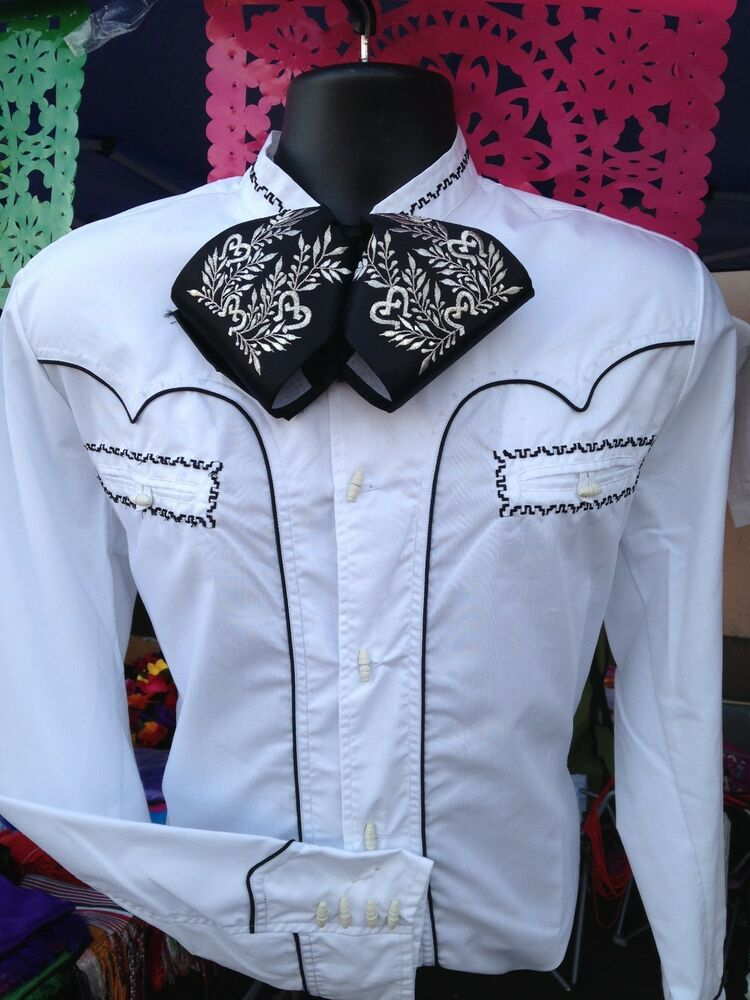 Mexican Western Shirt Stitched Camisa Charra Mariachi