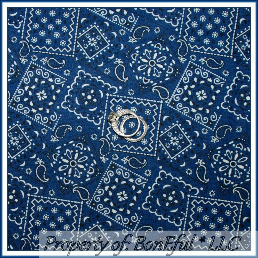 Boneful fabric fq cotton quilt blue b w paisley country for Boys cotton fabric