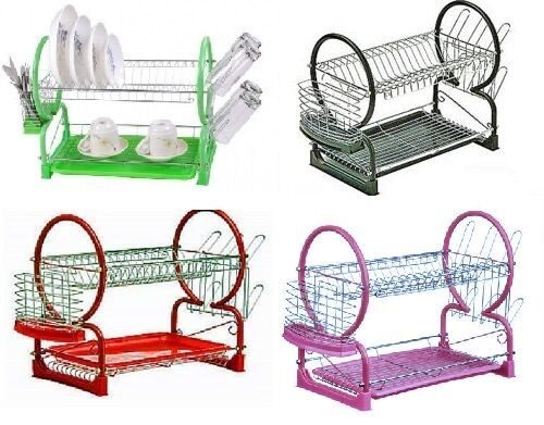 2 Tier Chrome Kitchen Dish Drainer Drying Rack With Drip