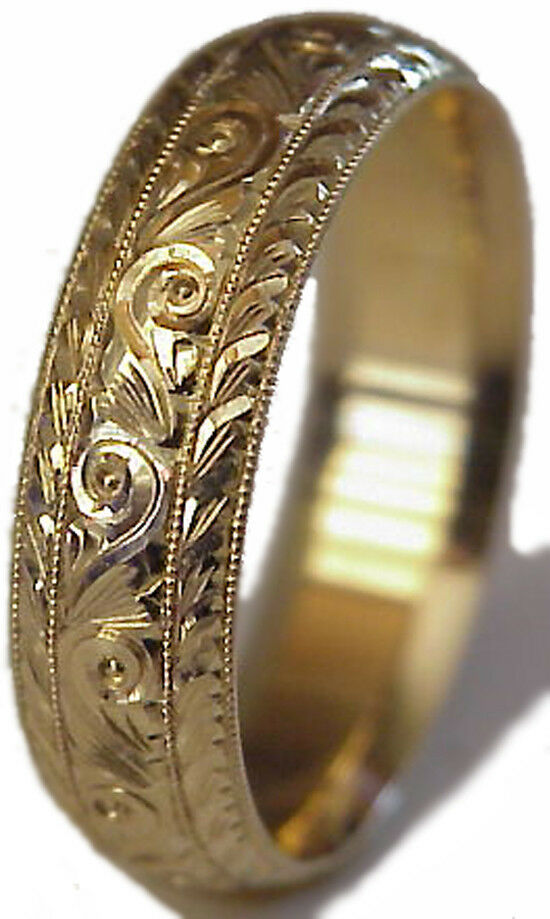 NEW HAND ENGRAVED WOMAN 14K YELLOW GOLD 6MM WIDE WEDDING BAND RING COMFORT FIT