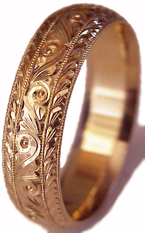 New Hand Engraved Men S 14k Rose Gold 6mm Wide Wedding