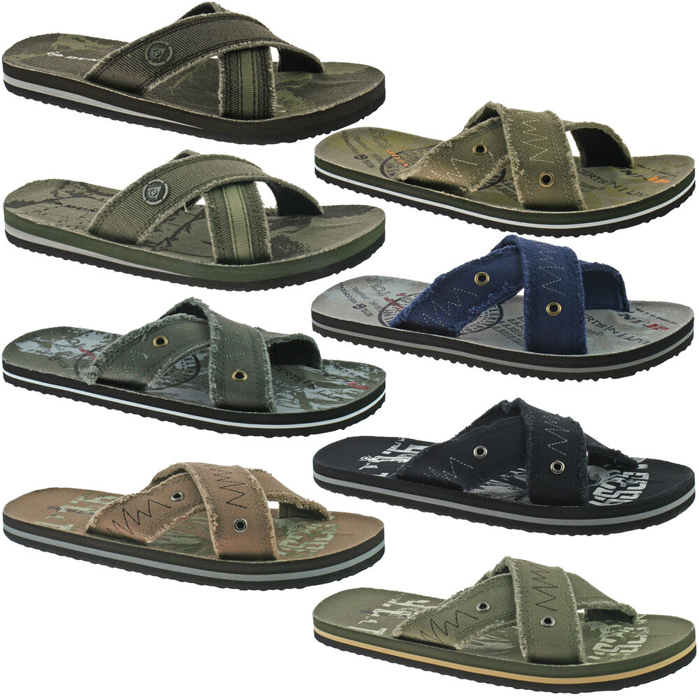 mens dunlop textile flip flops sandals size uk 6 12 black brown grey khaki ebay. Black Bedroom Furniture Sets. Home Design Ideas