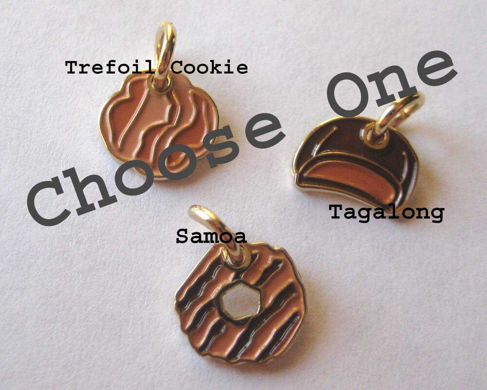 girl scout cookie charm gold jewelry choose trefoil samoa