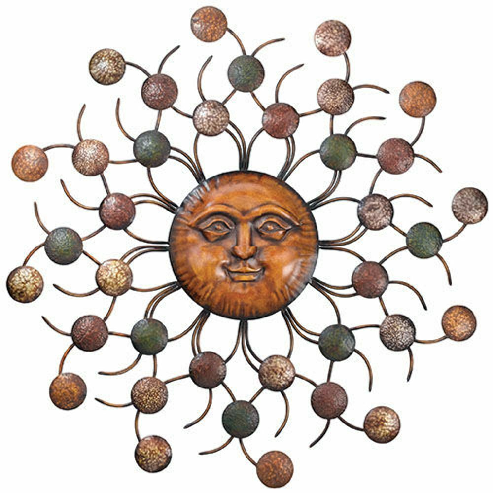 Sun face circles wall art sculpture large metal sunburst for Outdoor metal wall art