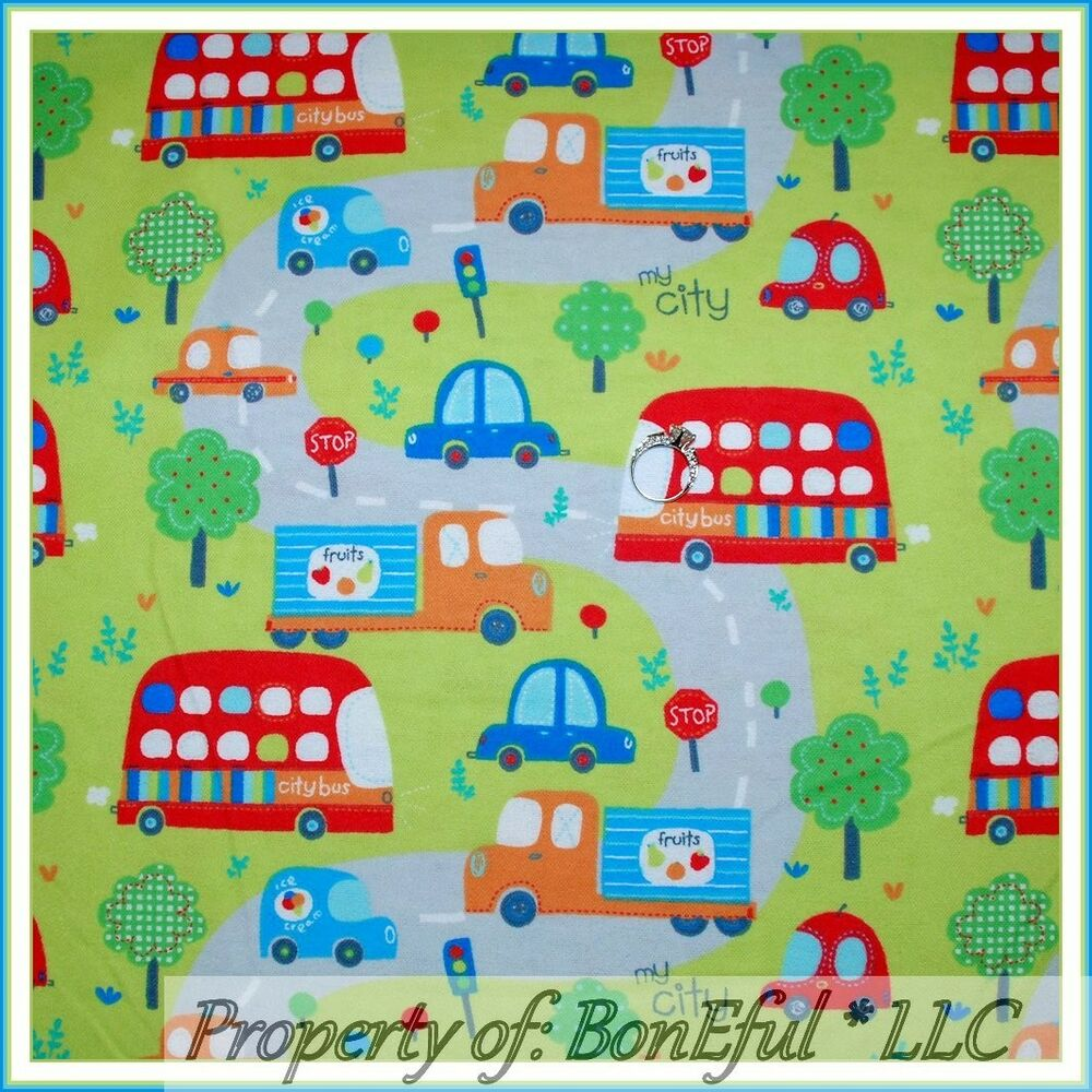 Boneful fabric fq flannel quilt baby boy tree city town for Boy quilt fabric