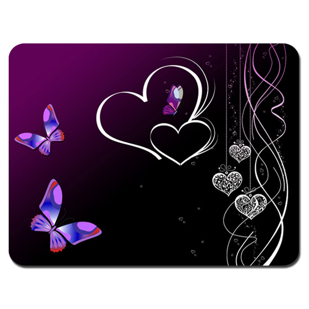 Soft Mouse Pad Neoprene Laptop Pc Mousepad Butterfly Heart