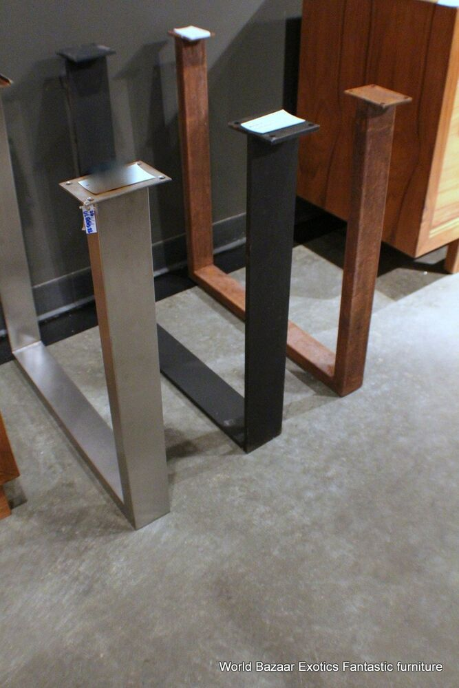 A Pair Dining Table Slab Legs Stainless Steel Flat Iron Or